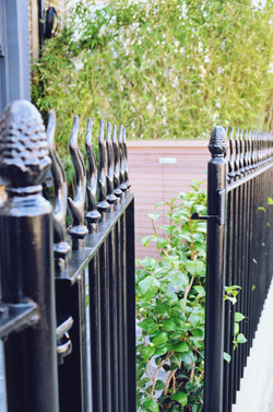 Victorian restoration with modern twist heavt steel wrought rail and gate