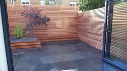 cedar privacy screen slatted timber trellis London