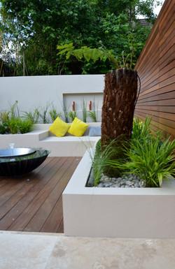modern garden design outdoor room with kitchen seating  chelsea fulham