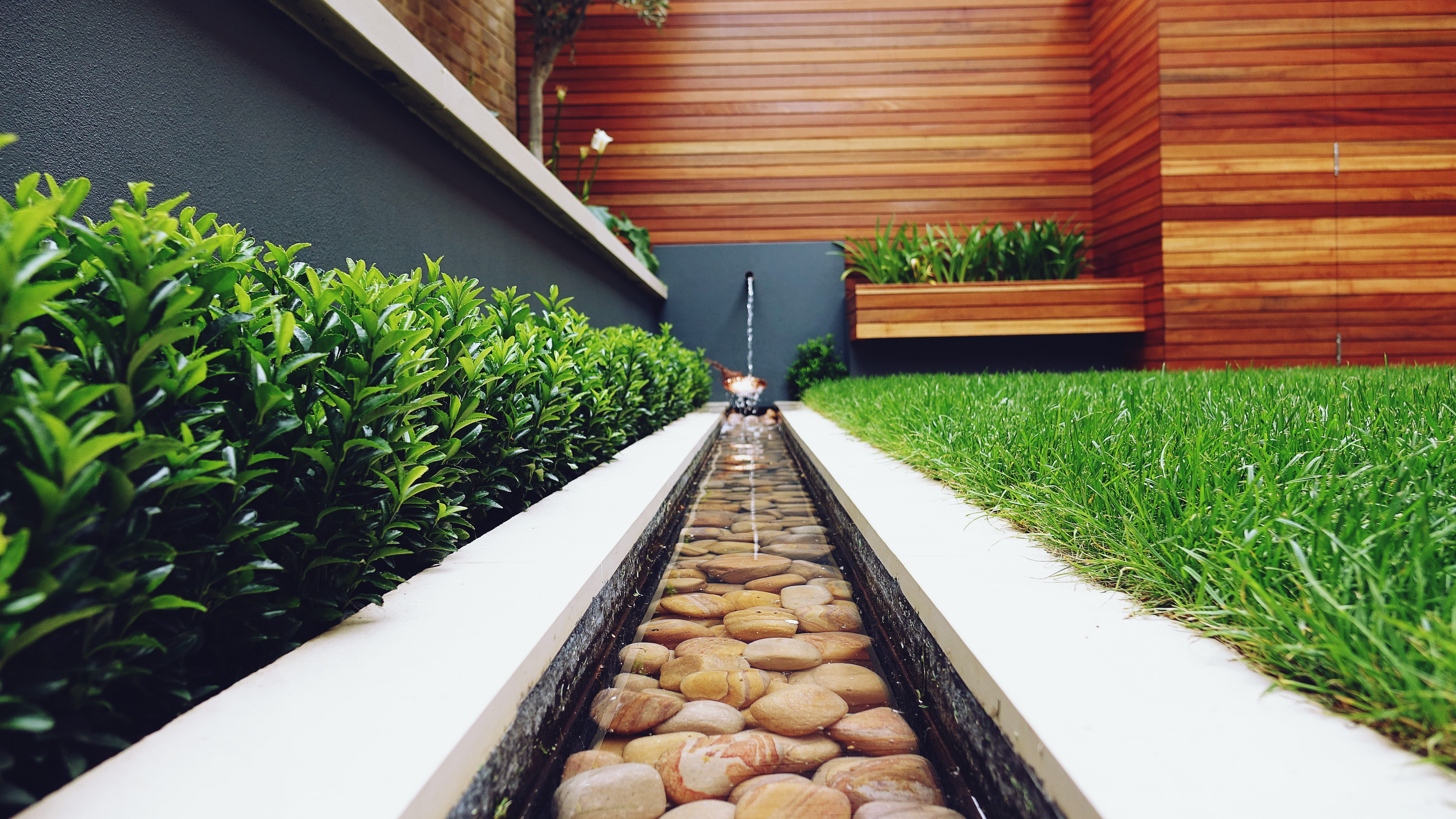 wonderful mini canal water feature with