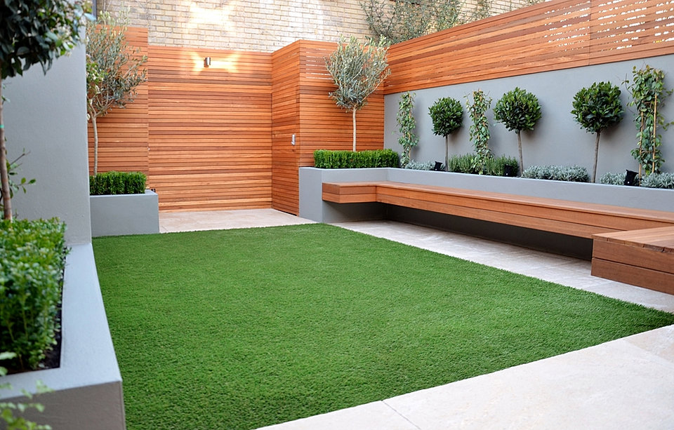 Modern Garden Design London Raised Beds Hardwood Slatted Screen Trellis  Fence Fake Grass Flaoting Be