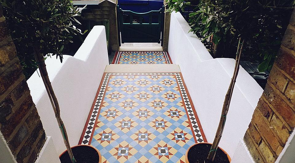 Victorian Mosaic Garden Tile Path Yorkstone Steps Black Heath Greenwich  London# (24)