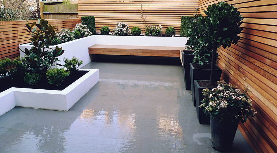 Smooth Grey Paving White Walls Flaoting Bench Modern London Garden Design  Idea