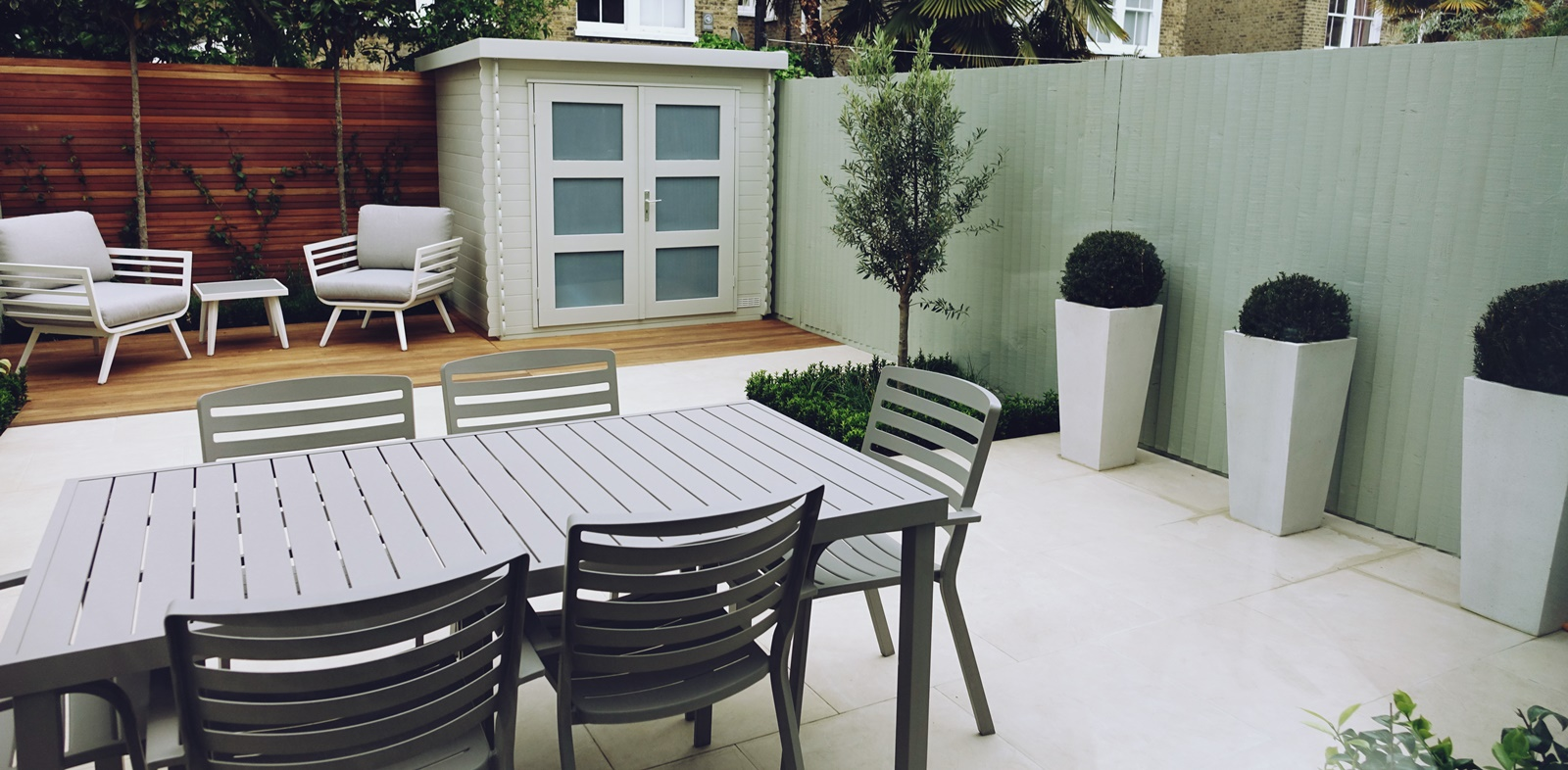 soft pastel modern garden design london.