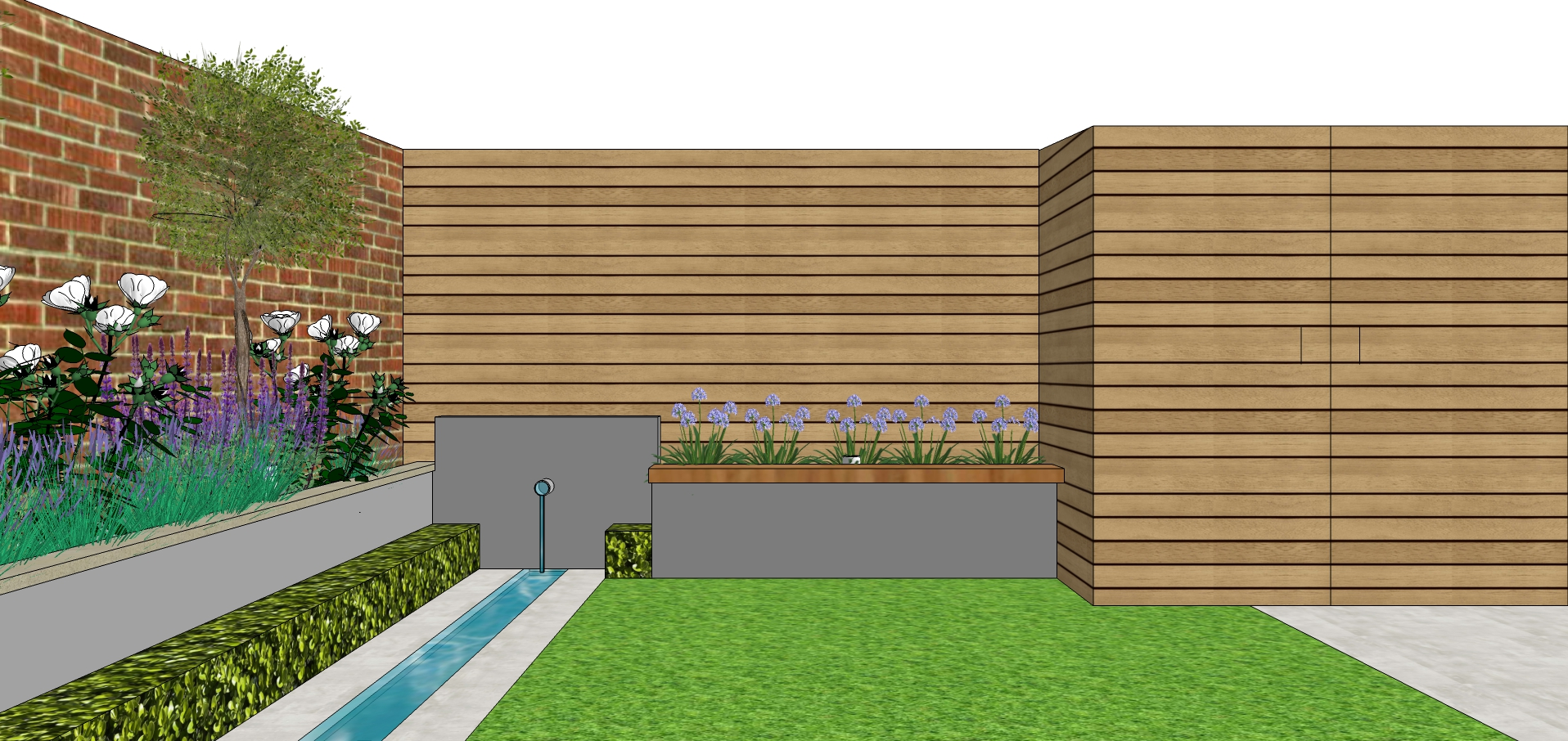 garden design sketch for modern courtyar