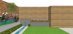 garden design sketch for modern courtyar