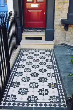 Victorian restoration with modern twist mosaic with monochrome and random colours