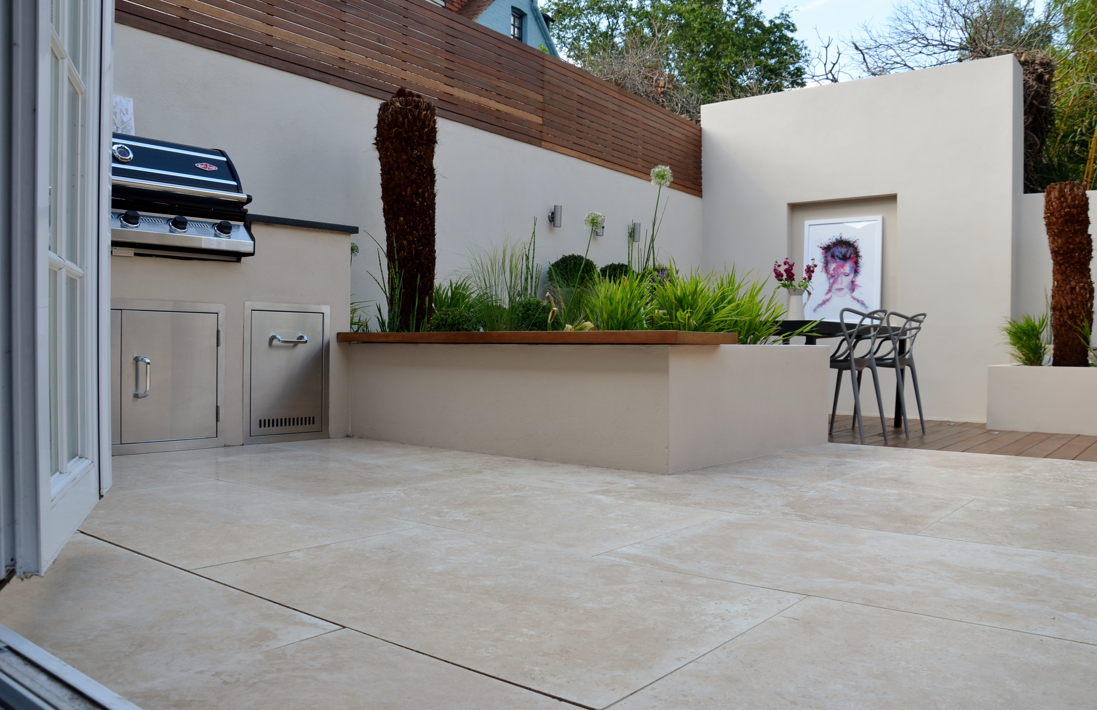 modern garden design outdoor room with kitchen seating  balham clapham