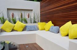 modern garden design outdoor room with kitchen seating  kingston