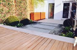 Garden builders Anewgarden Modern contemporary style London hardwood deck corten planter