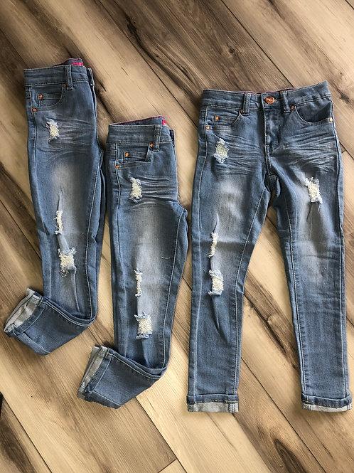 Girls Distressed Skinny Jeans