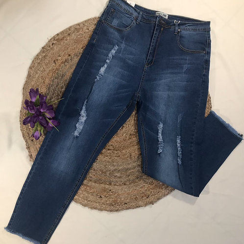 Distressed High Waisted Jeans   - Plus Size