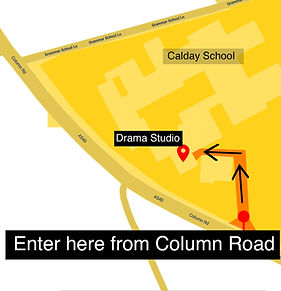 Calday School Map For Drama Studio. Youth Theatre group OTG have lesssons on Monday.
