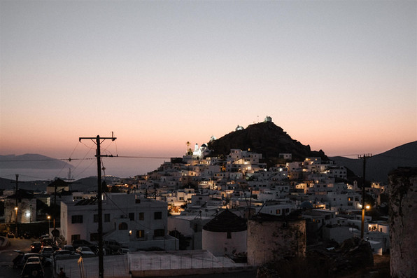 Ios Greece at Sunset with village lights