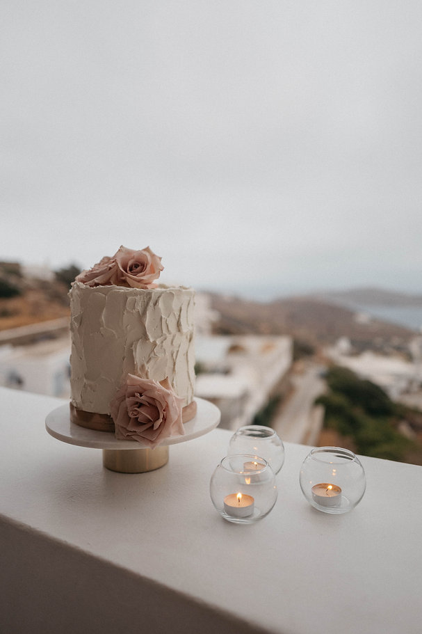 Ios Love Stories Magali and Dan wedding cake styled by The Isle