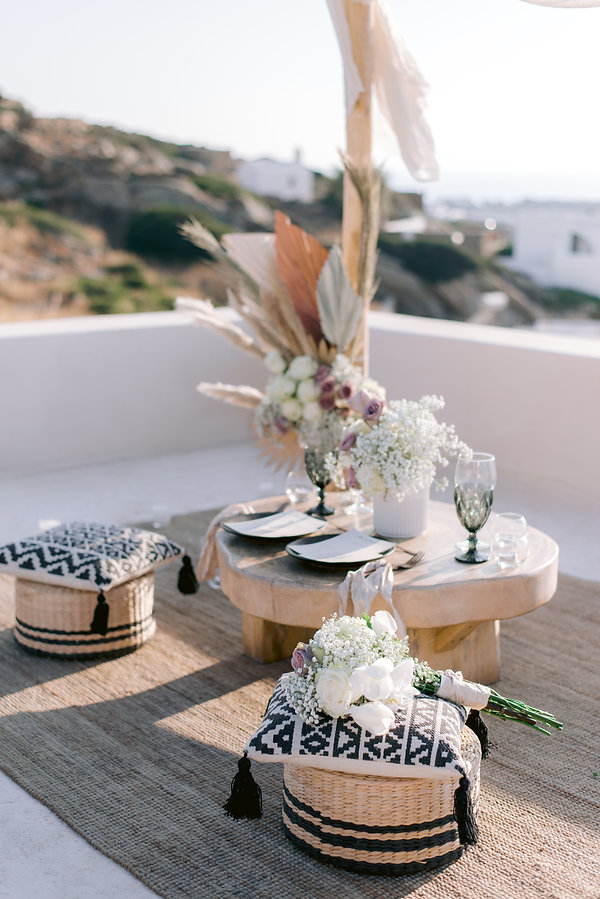 Ios Club elopement setting with styled table by The Isle
