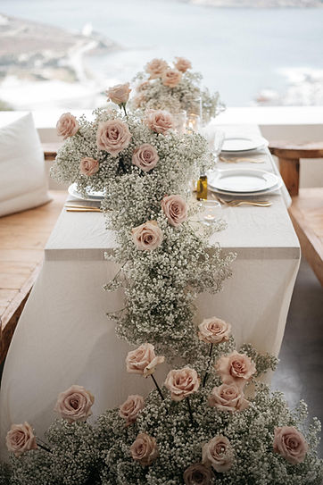Wedding table styled with floristry by The Isle