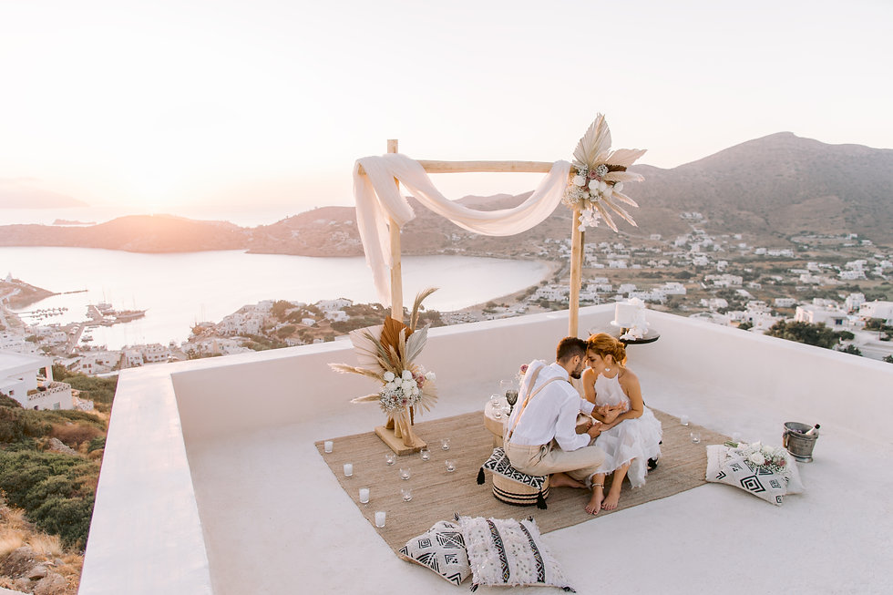 The Isle Elopement Styling Overlooking Ios Greece