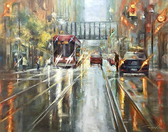 11 New street car on Queen (24x39) Oil.j