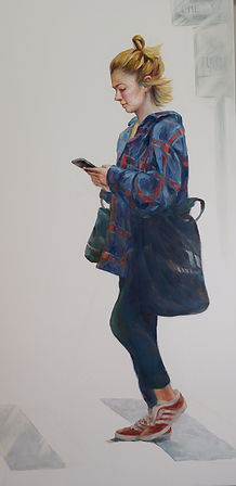 Texting and walking(18x36) Oil.jpg