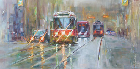 17 street car in raining day (雨中街车)$1850