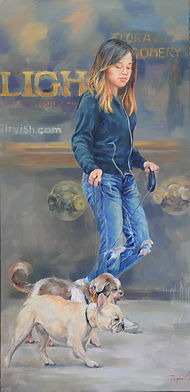 2. Girl with dogs (18x36) $1600.JPG