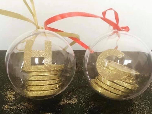 Christmas Initial Gold Coin Baubles x 2