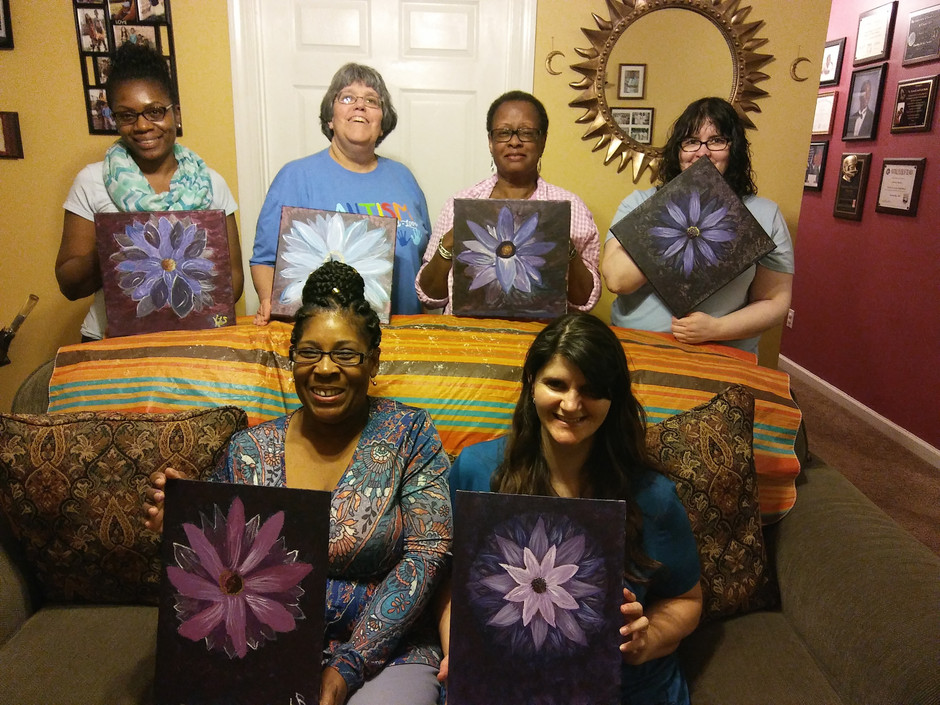 Adult Paint and Sip Parties. These lovely ladies created some beautiful flower paintings. Such a fun