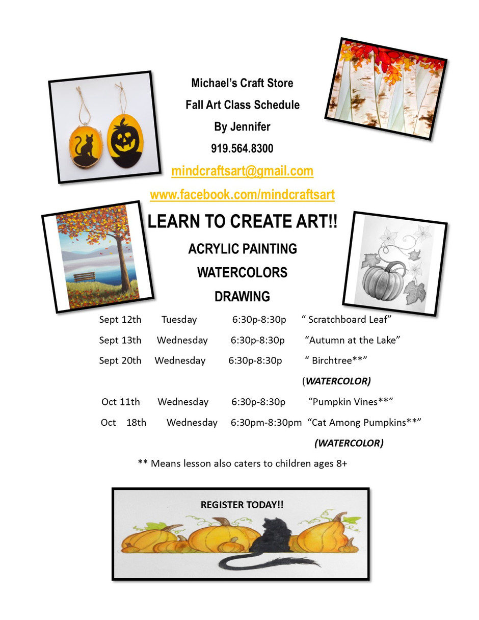 Michael's Craft Store classes now available for registration. Now teaching WATER COLORS! Our web