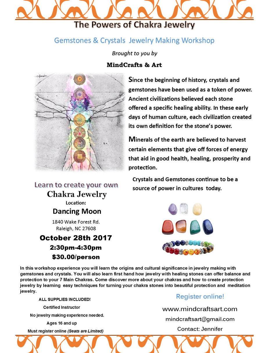 UPCOMING JEWELRY WORKSHOP EVENT @ Dancing Moon Book Store and Gift Shop. October 28th.