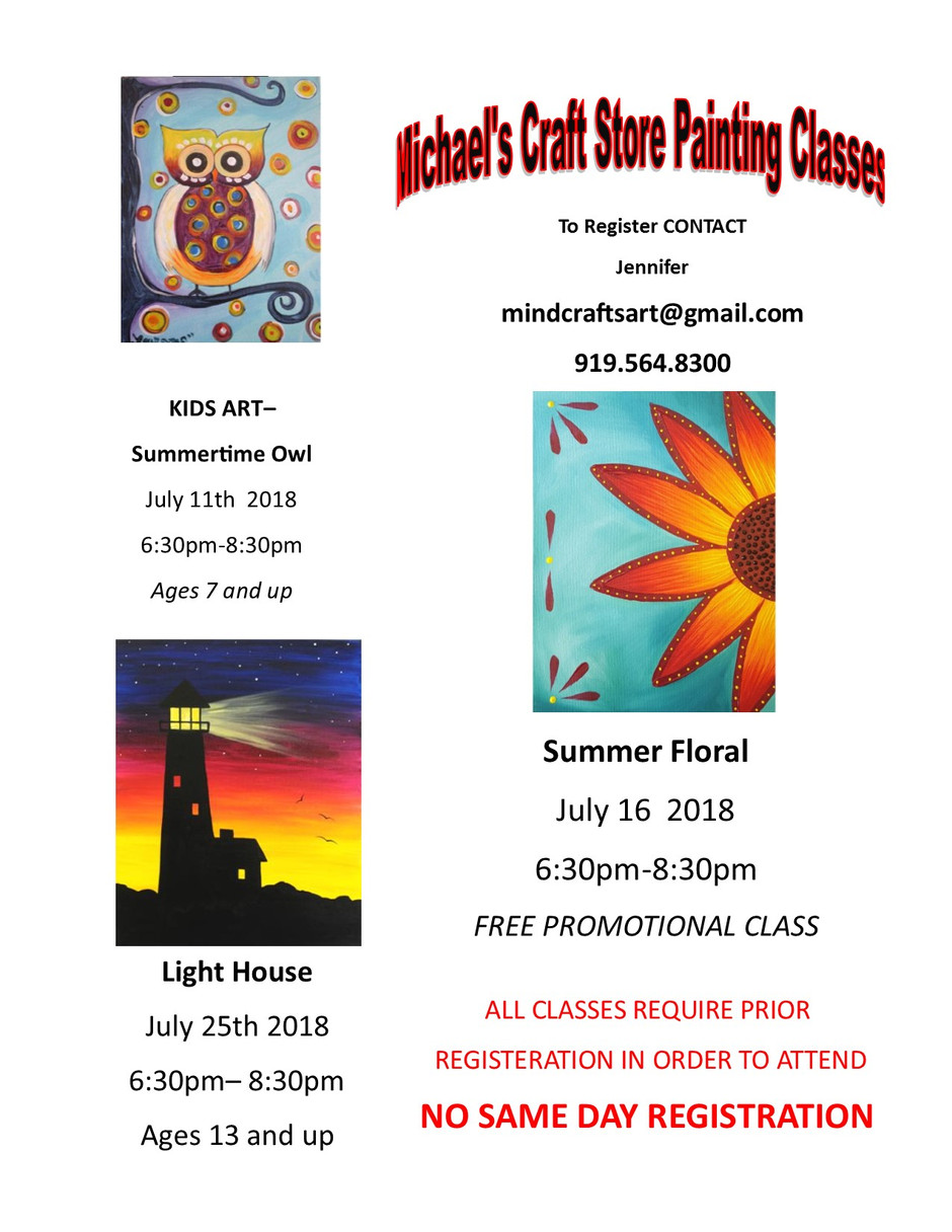 NEW JULY PAINTING CLASSES