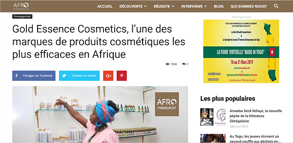 Gold Essence Cosmetics - Afropreneuriat
