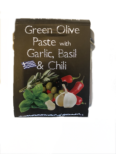Olivenpaste mit Knoblauch, Basilikum und Chili
