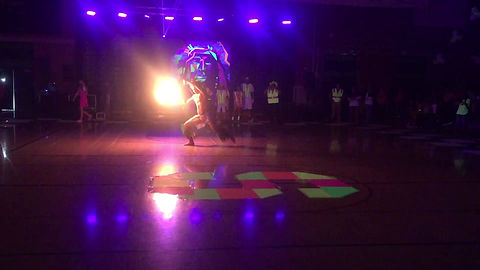 Fire Knife Performance for Black Light Rally