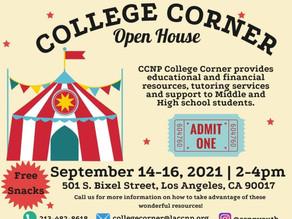 College Corner Resources Open House (Casa Abierta)