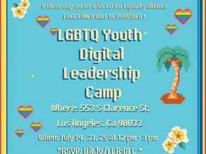 LGBTQ Youth Leadership Camp July 14, 21, & 25