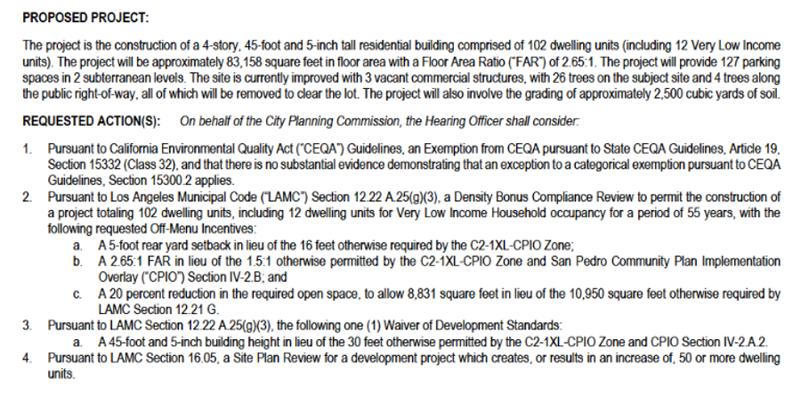 description of proposed project at 1309 Pacific Ave