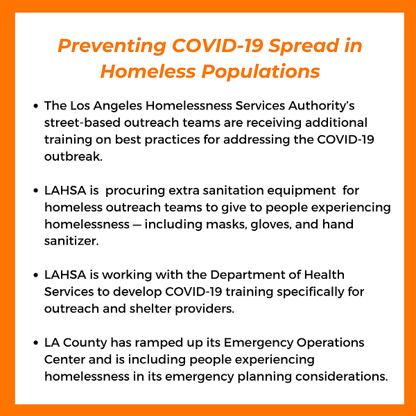 Bullet points on Preventing Covid-19 Spread in Homeless population