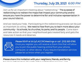July 29 - City Council Redistricting Public Hearing