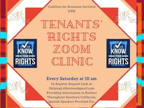 Every Saturday - Tenants' Rights Clinic