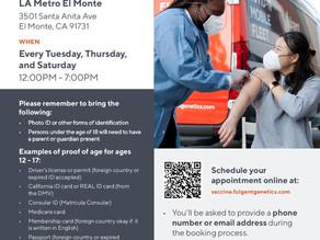 Free Covid-19 Vaccinations Tues, Thurs & Saturdays 12-7pm