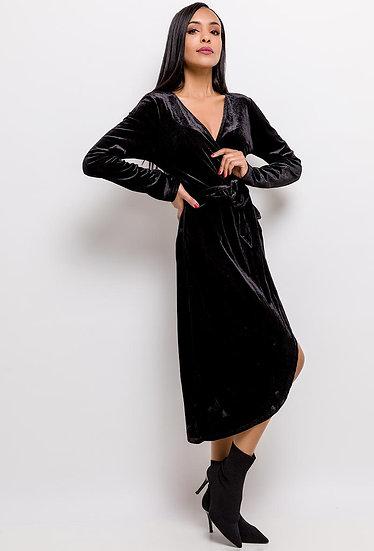 robe | AniBags | velours | cache cœur | noir | asymétrique | longue | manches longues