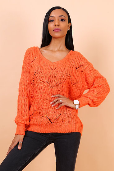 Pull Ambre | AniBags | pull ajouré | col rond | corail | manches longues