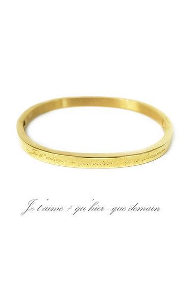 Bracelet jonc | AniBags | enfants | fillette | fille | message | je t'aime + qu'hier - que demain