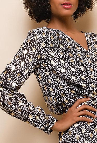 robe cache cœur | AniBags | gouttes or | manches longues | tunique | robe fluide