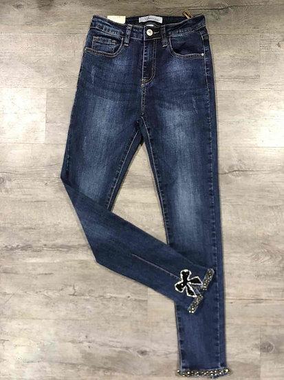 pantalon   jean   AniBags   jean strass   bleu   nœud noir