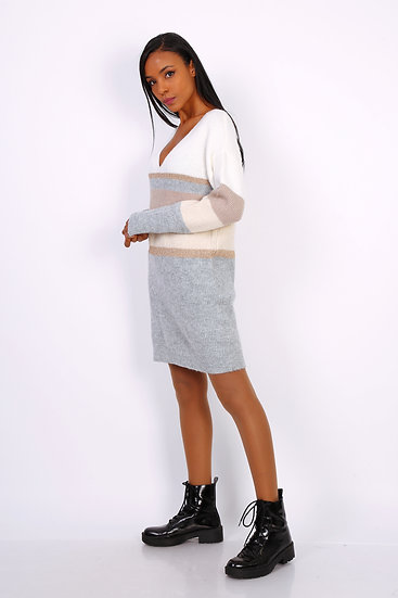 Robe maille | AniBags | tunique | pull long | maille or | moutarde | gris | col V