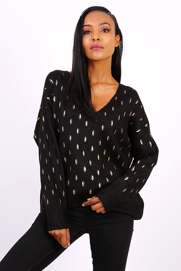 Pull Amélia   AniBags   gouttes or   manches longues   col V   pull doux
