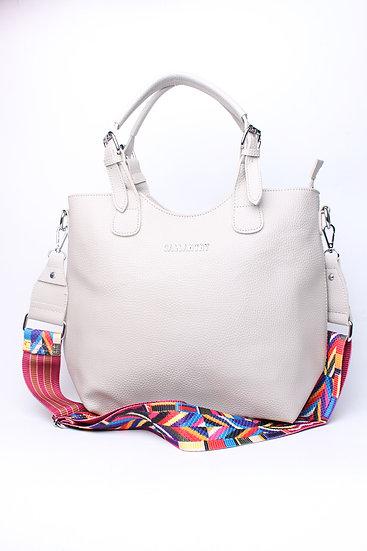 Sac bandoulière | AniBags | sac gris clair | bandoulière multicolore