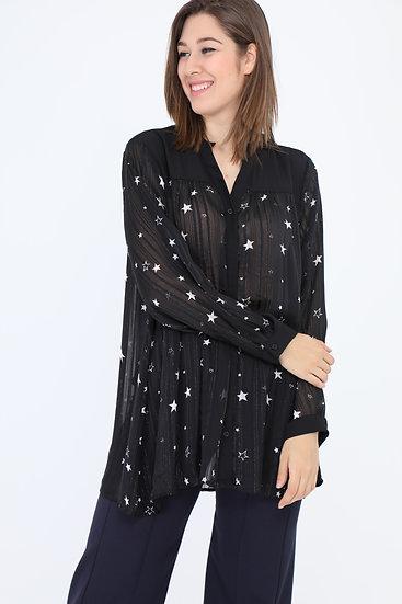blouse   AniBags   étoiles   fil d'argent   voile   transparent   grande taille
